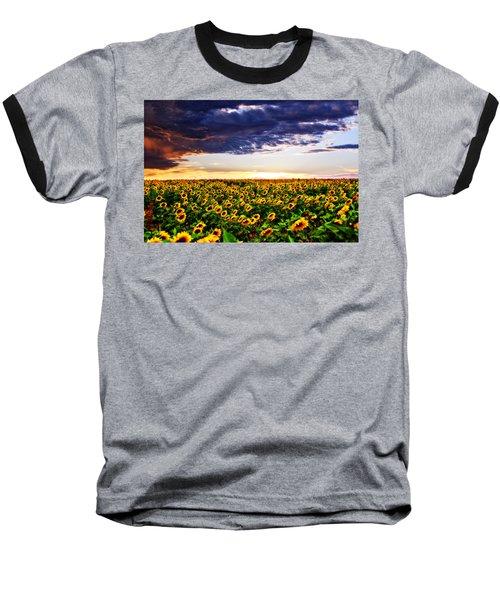 Sunflowers At Sunset Baseball T-Shirt