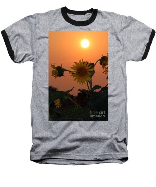 Baseball T-Shirt featuring the photograph Sunflowers At Sunset by Kathy  White