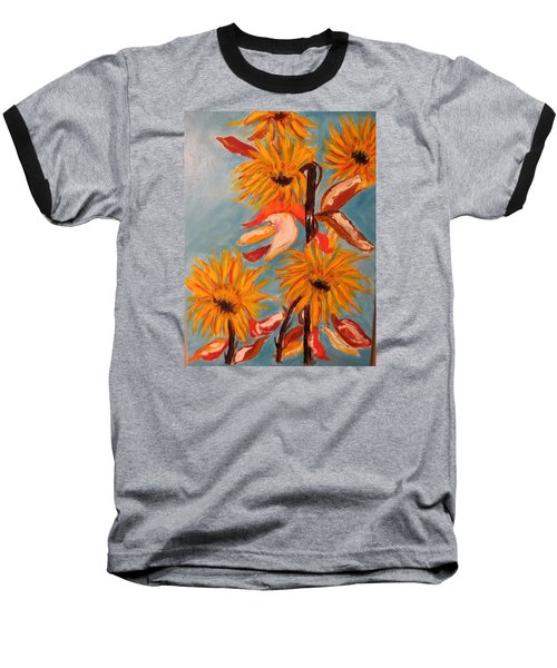 Baseball T-Shirt featuring the painting Sunflowers At Harvest by Sharyn Winters