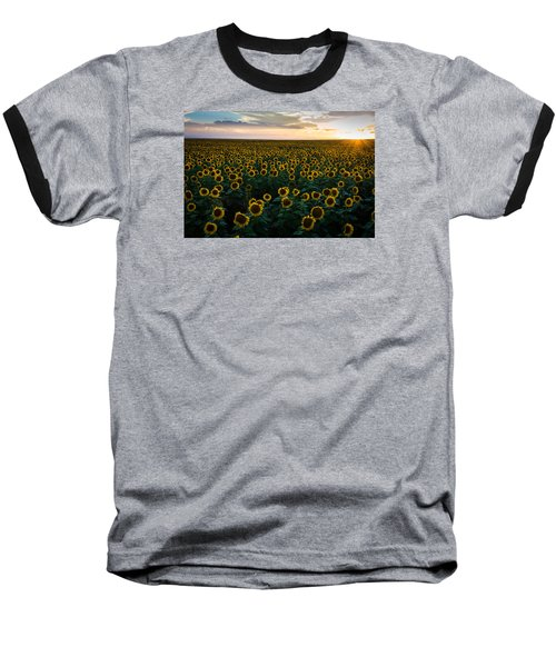 Sunflowers At Sunset Baseball T-Shirt