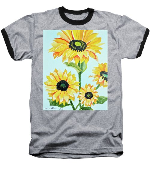 Sunflowers  Baseball T-Shirt by Donna Blossom