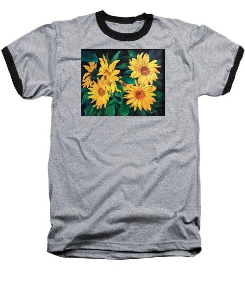 Sunflowers Baseball T-Shirt by Ellen Canfield