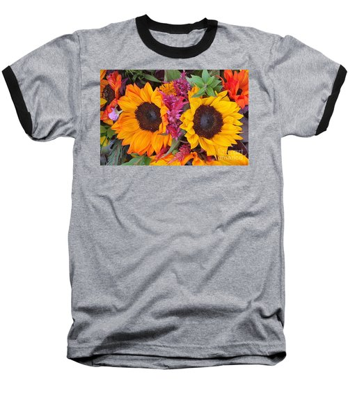 Sunflowers Eyes Baseball T-Shirt by Jasna Gopic
