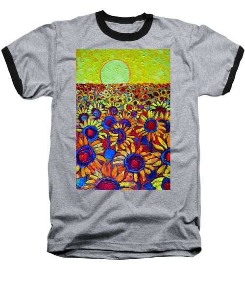 Sunflowers Field At Sunrise Baseball T-Shirt