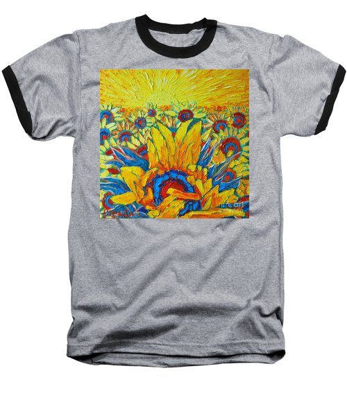 Sunflowers Field In Sunrise Light Baseball T-Shirt
