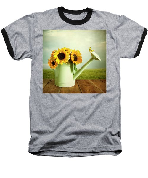 Sunflowers In A Watering Can Baseball T-Shirt