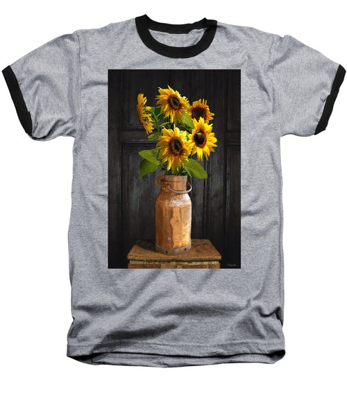 Sunflowers In Copper Milk Can Baseball T-Shirt