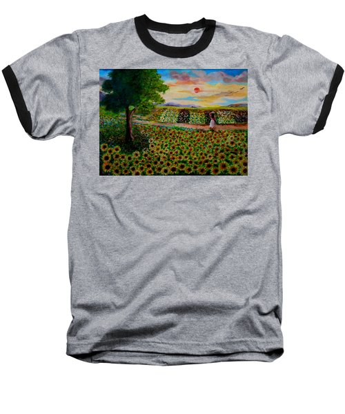 Sunflowers In Sunset Baseball T-Shirt
