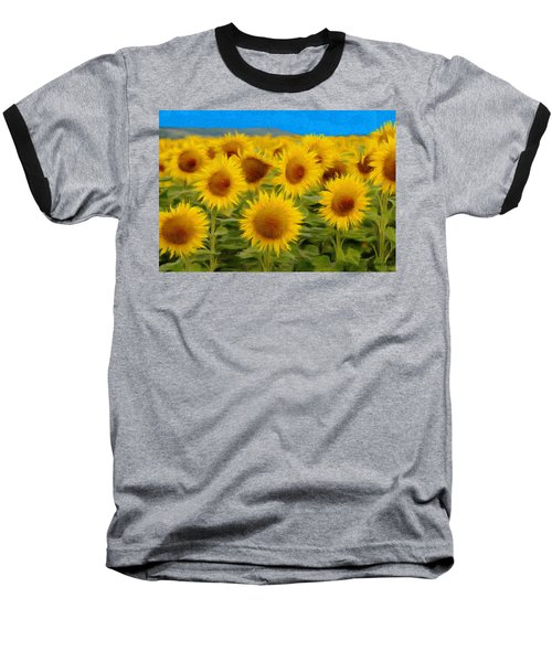 Sunflowers In The Field Baseball T-Shirt