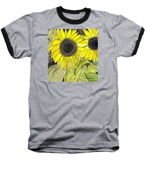 Baseball T-Shirt featuring the painting Sunflowers by Lou Belcher