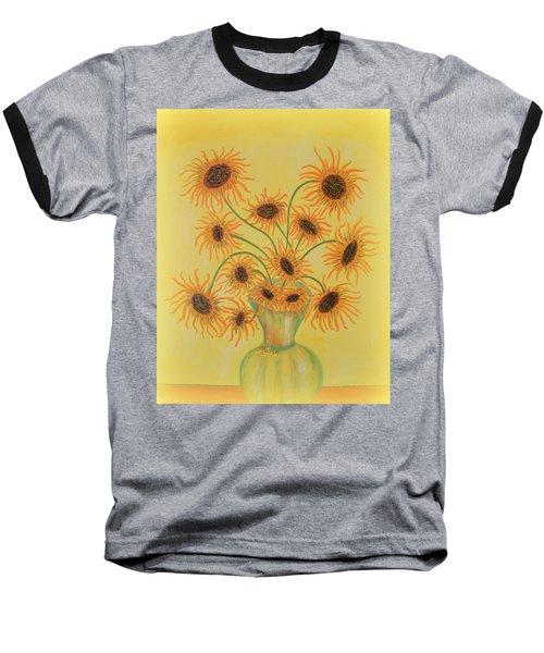 Sunflowers Baseball T-Shirt by Marie Schwarzer
