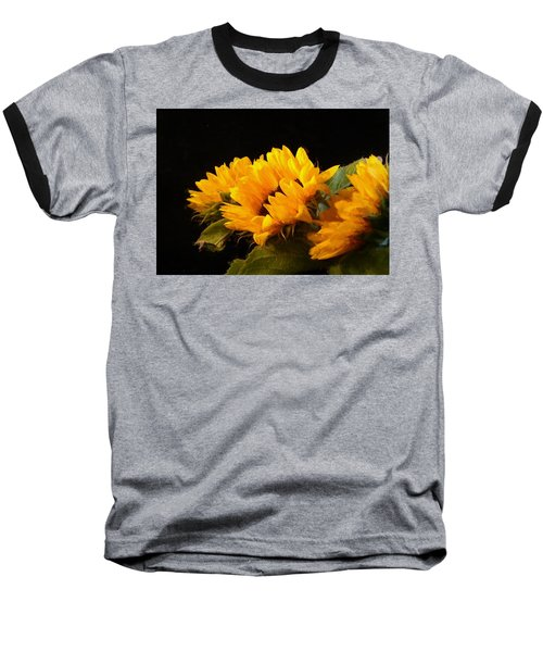 Sunflowers On A Black Background Baseball T-Shirt