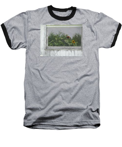 Sunflowers On Barn Baseball T-Shirt by Tina M Wenger