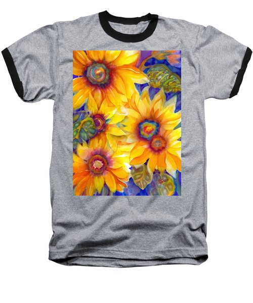 Sunflowers On Blue II Baseball T-Shirt