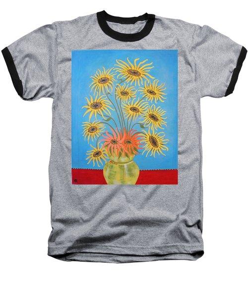 Sunflowers On Blue Baseball T-Shirt by Marie Schwarzer