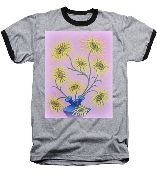 Sunflowers On Pink Baseball T-Shirt