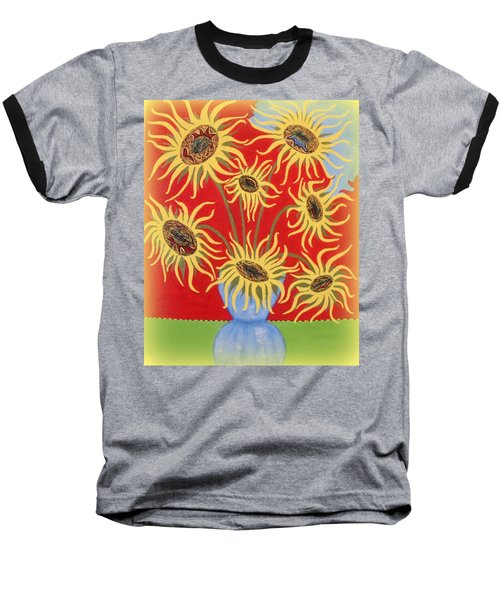 Sunflowers On Red Baseball T-Shirt by Marie Schwarzer