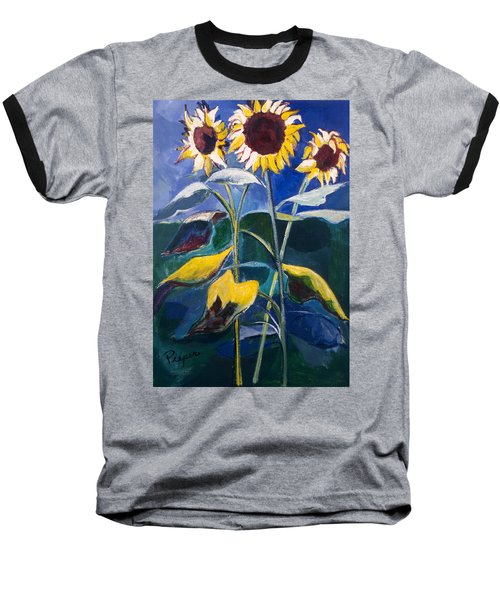 Baseball T-Shirt featuring the painting Sunflowers Standing Tall by Betty Pieper