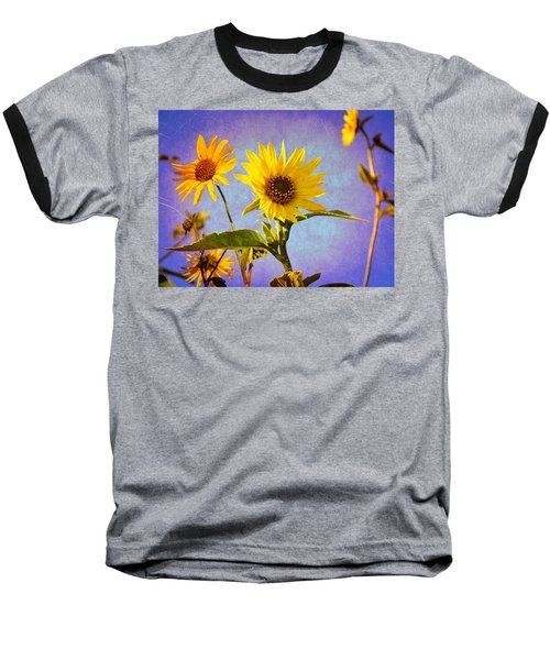 Sunflowers - The Arrival Baseball T-Shirt by Glenn McCarthy Art and Photography