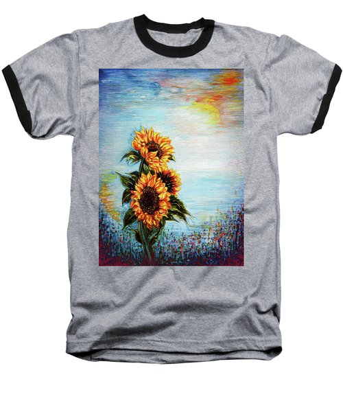 Sunflowers - Where Ocean Meets The Sky Baseball T-Shirt
