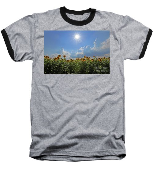 Sunflowers With Sun And Clouds 1 Baseball T-Shirt