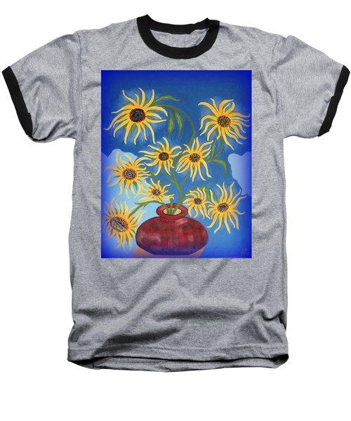 Sunflowers On Navy Blue Baseball T-Shirt by Marie Schwarzer