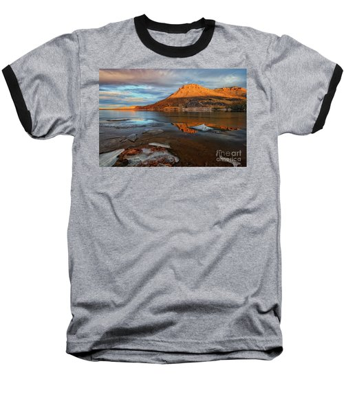Sunlight On The Flatirons Reservoir Baseball T-Shirt by Ronda Kimbrow