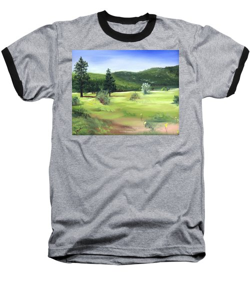 Sunlit Mountain Meadow Baseball T-Shirt by Jane Autry