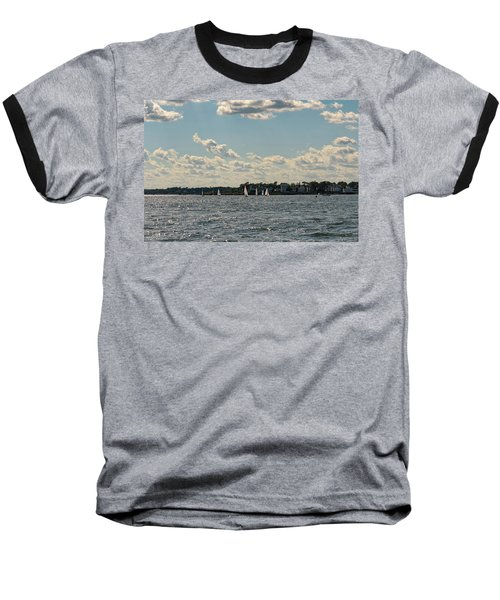 Baseball T-Shirt featuring the photograph Sunlit Sailboats Norwalk Connecticut From The Water by Marianne Campolongo