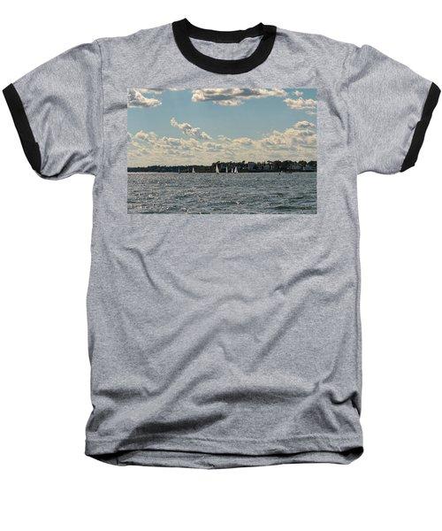 Sunlit Sailboats Norwalk Connecticut From The Water Baseball T-Shirt
