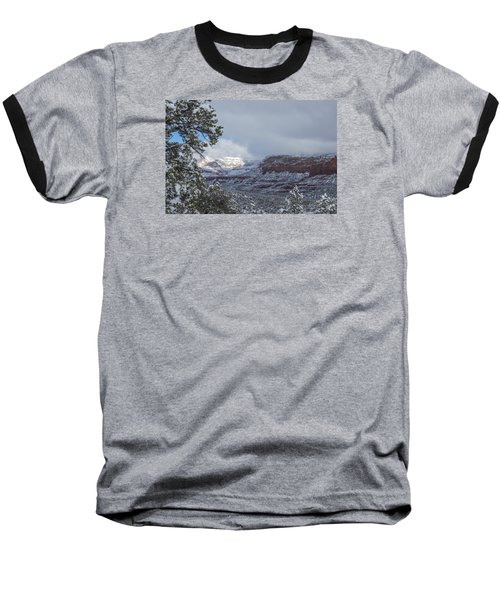 Sunlit Snowy Cliff Baseball T-Shirt by Laura Pratt