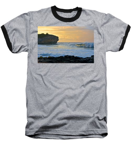Sunlit Waves - Kauai Dawn Baseball T-Shirt by Marie Hicks