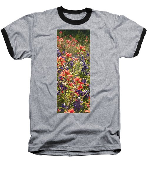 Baseball T-Shirt featuring the painting Sunlit Wild Flowers by Karen Kennedy Chatham