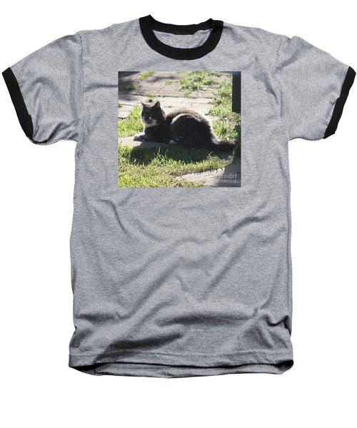 Sunning Ms. Mustache Baseball T-Shirt
