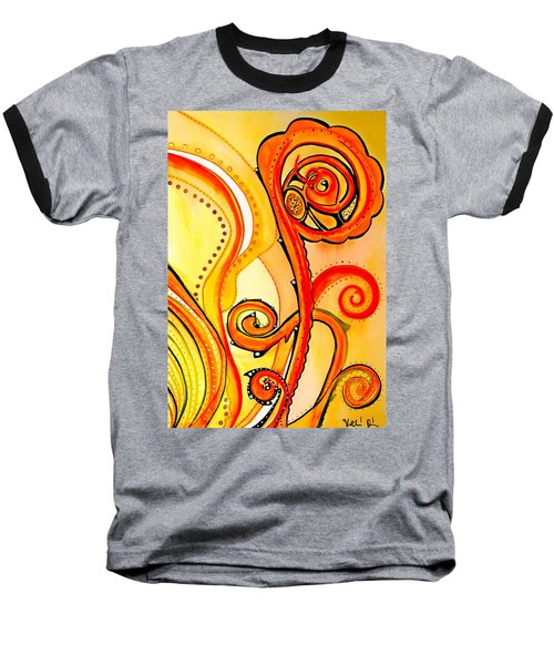 Baseball T-Shirt featuring the painting Sunny Flower - Art By Dora Hathazi Mendes by Dora Hathazi Mendes