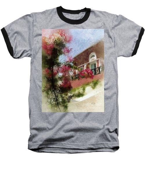 Baseball T-Shirt featuring the photograph Sunny Santorini by Lois Bryan