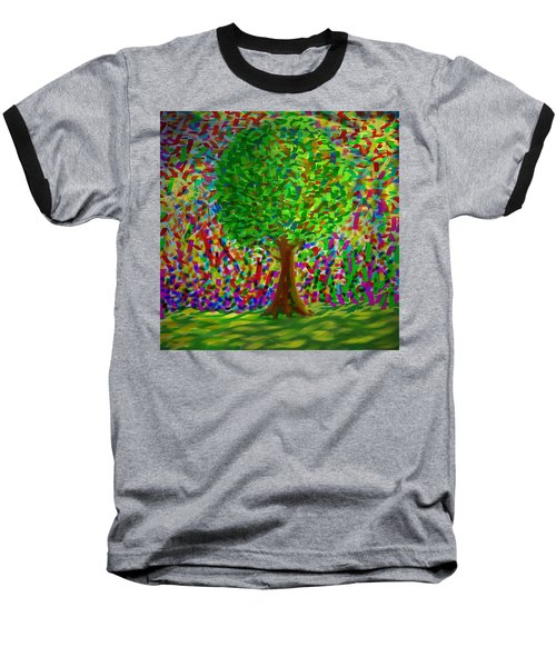 Baseball T-Shirt featuring the painting Sunny Tree by Kevin Caudill