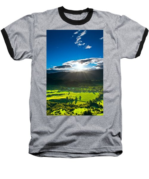 Sunrays Flood Farmland During Sunset Baseball T-Shirt by Ulrich Schade