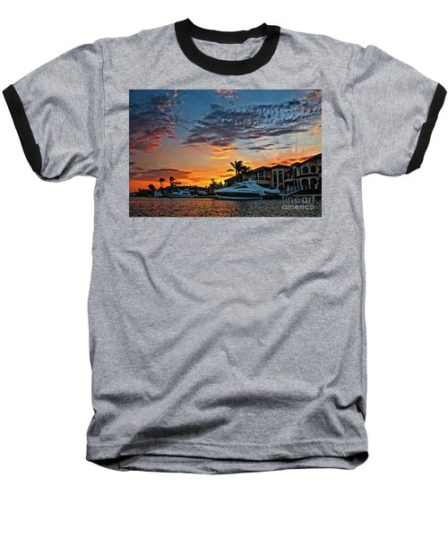 Sunrays Sunset Over Huntington Harbour Baseball T-Shirt