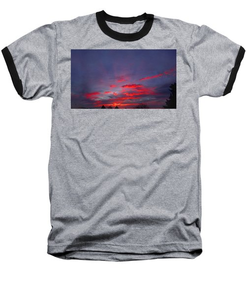 Sunrise Abstract, Red Oklahoma Morning Baseball T-Shirt
