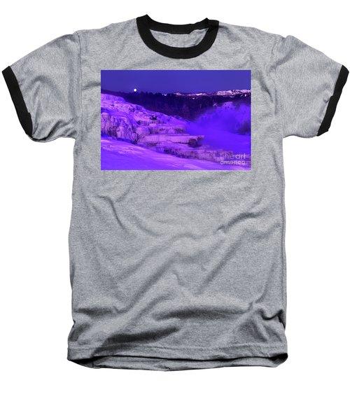 Sunrise And Moonset Over Minerva Springs Yellowstone National Park Baseball T-Shirt
