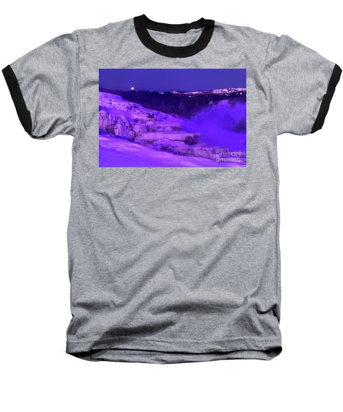 Baseball T-Shirt featuring the photograph Sunrise And Moonset Over Minerva Springs Yellowstone National Park by Dave Welling