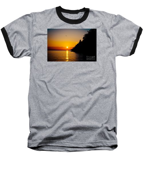 Sunrise And Seascape Orange Color Baseball T-Shirt