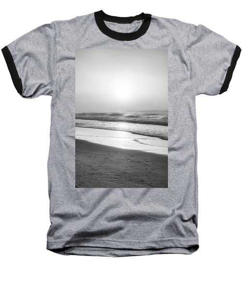 Baseball T-Shirt featuring the photograph Sunrise At Beach Black And White  by John McGraw