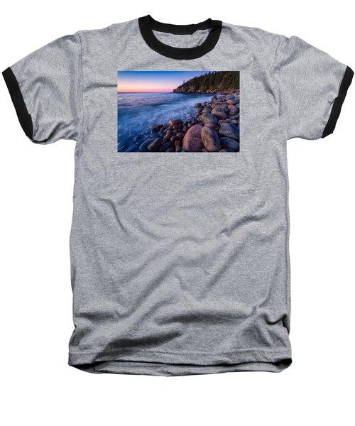 Sunrise At Boulder Beach Acadia Np Baseball T-Shirt