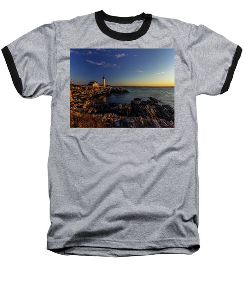 Sunrise At Portland Headlight Baseball T-Shirt