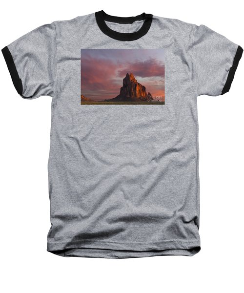 Baseball T-Shirt featuring the photograph Sunrise At Shiprock New Mexico by Keith Kapple