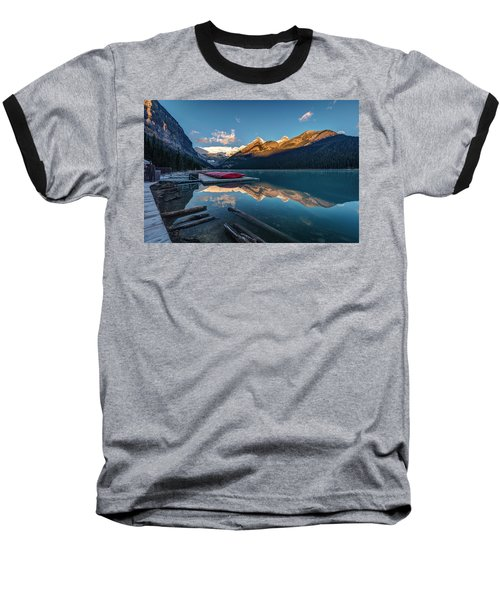 Sunrise At The Canoe Shack Of Lake Louise Baseball T-Shirt by Pierre Leclerc Photography
