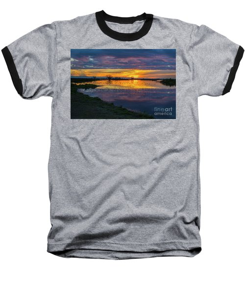 Sunrise At The Merced National Wildlife Refuge Baseball T-Shirt