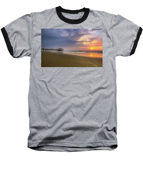 Baseball T-Shirt featuring the photograph Sunrise At Tybee Island Pier by James Woody